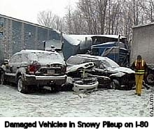 [Damaged Vehicles in Snowy Pileup on I-80]